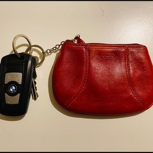 AUTHENTC COACH Coin Purse - Red with key ring